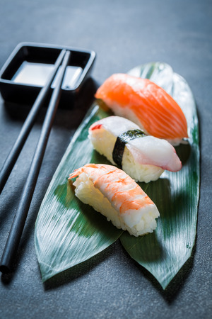 Enjoy your Nigiri sushi with octopus, prawn and salmon