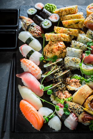 Fresh sushi set made of fresh vegetables and seafood