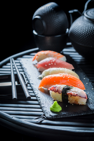Delicious Nigiri sushi with rice and shrimp Stock Photo
