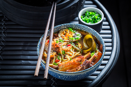Enjoy your Kimchi soup with chive and noodles