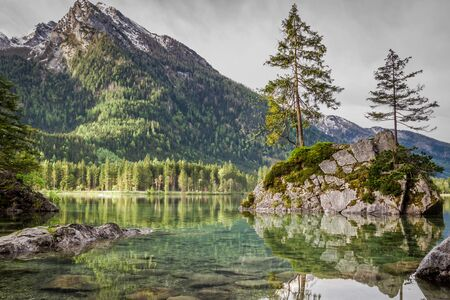 Stunning sunrise at Hintersee lake in Alps in summer Stock Photo