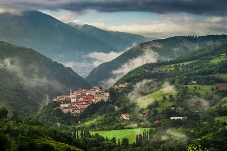 Sunrise over the village of Preci, Umbria, Italy