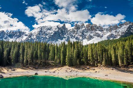 Breathtaking mountain Carezza lake in spring, Alps, Italy Stock Photo