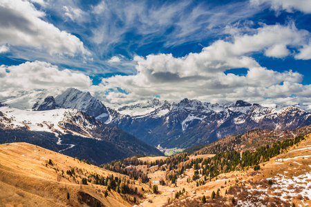 Valley and the peak in the Dolomites, Europe Stock Photo - 87983829