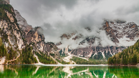 Breathtaking lake Pragser Wildsee in Dolomites, Italy Stock Photo