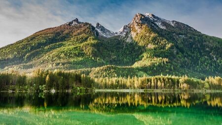 Sunrise at Hintersee lake in Alps, Europe Stock Photo