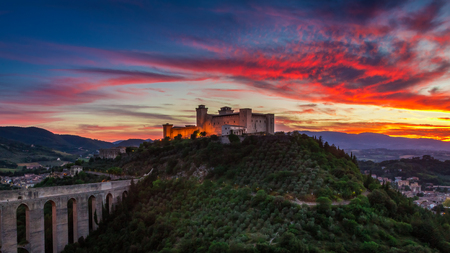 Stunning sunset over the castle in Spoleto, Italy, Umbria