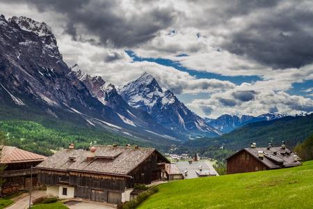 Wonderful mountain city Cortina di Ampezzo, Dolomites, Italy Stock Photo