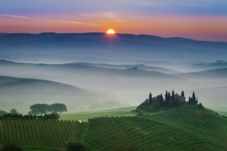 Stunning foggy green fields at sunset in Tuscany