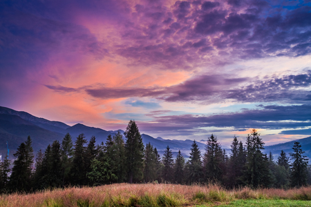 Sunset in Tatra mountains view from Zakopane Stock Photo