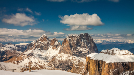 Wonderful summit of Sass Pordoi, Dolomites, Italy, Europe