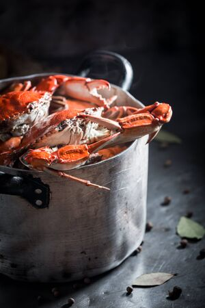Preparation for tasty crab in a old metal pot