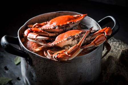 Ingredients for homemade crab in a old metal pot Stock Photo