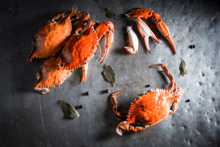 Preparation for fresh crab with allspice and bay leaf Stock fotó