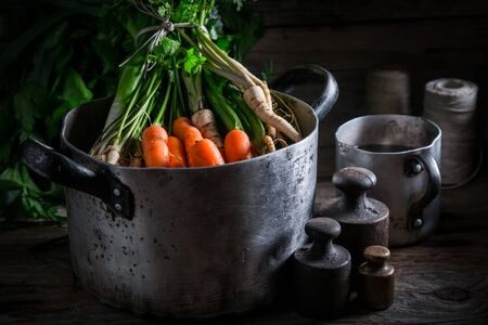 Ingredients for homemade broth with carrots, parsley and leek