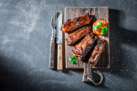Tasty roasted ribs with vegetables and potato Stock fotó