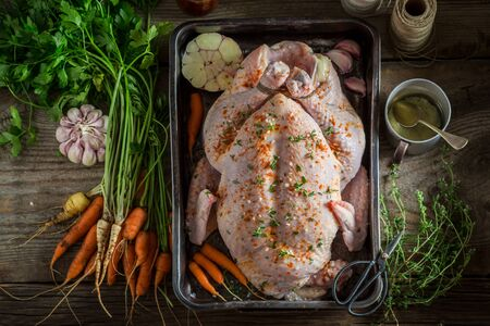 Ingredients for roasted homemade chicken with garlic and carrots