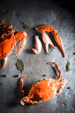 Ingredients for fresh crab with allspice and bay leaf Reklamní fotografie
