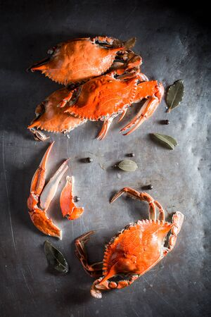 Preparation for fresh crab in a old metal pot