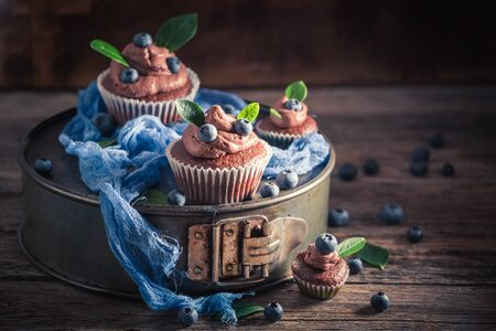 Sweet brown cupcake with fresh blueberries and cream