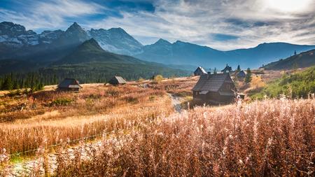 Prachtige vallei in de Tatra-berg bij zonsondergang in de herfst