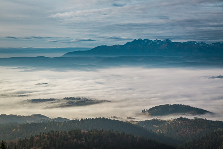 Stunning view to Tatras at sunrise in autumn