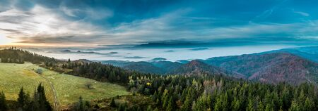 Wonderful view to Tatras at sunrise in autumn Banco de Imagens