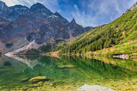 Stunning dusk at pond in the Tatra Mountains in autumn Stock Photo