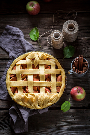 Homemade tart with apples made of fresh ingredients Banco de Imagens