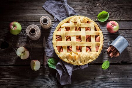 Homemade apple pie made of fresh ingredients