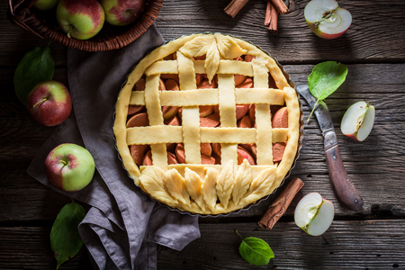 甘い新鮮な食材を使ったりんごのタルト 写真素材