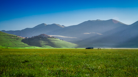 Stunning sunrise in the Castelluccio, Umbria, Italy