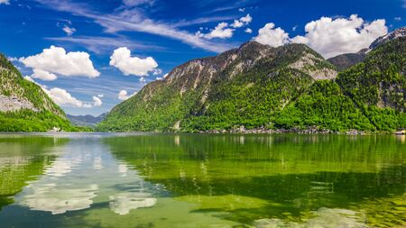 Alps and green mountain lake in summer, Austria, Europe Stock Photo