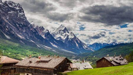 Wonderful city Cortina di Ampezzo in Dolomites mountains, Italy Stock Photo
