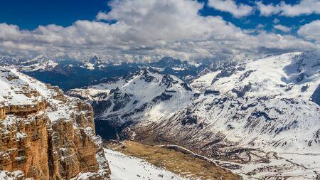 Summit of Sass Pordoi in spring, Dolomites, Italy Stock Photo