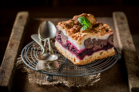 Delicious cherry pie with pot boiled coffee