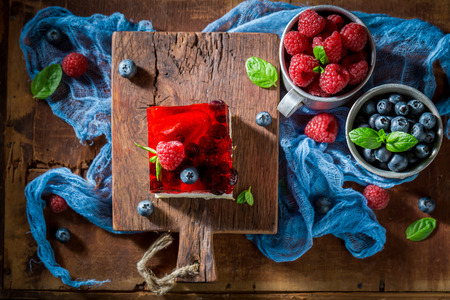 Tasty cake with fresh berries and jelly Stock fotó