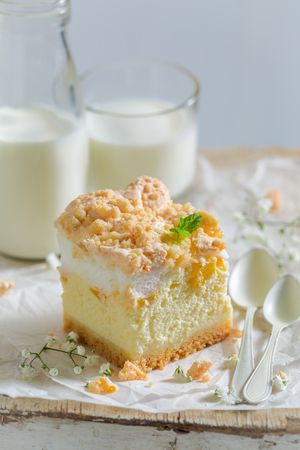 Delicious cheesecake made of peach and crumble