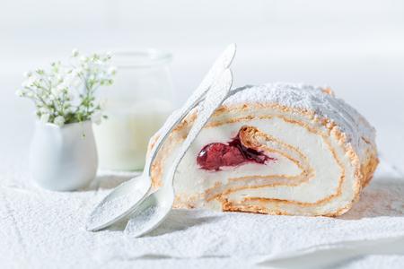 Tasty meringue cake made of fresh strawberry