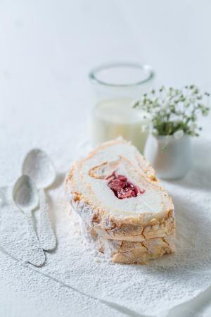Homemade meringue cake made of fresh strawberry Stock Photo