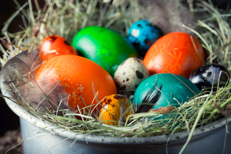 Closeup of fresh colorful eggs for Easter on hay
