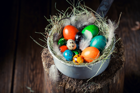 Closeup of eggs for Easter in the rustic cottage