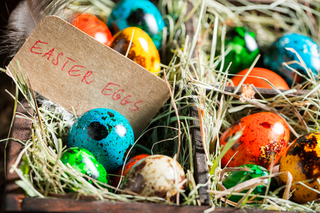 Closeup of eggs for Easter in wooden small box Stock Photo