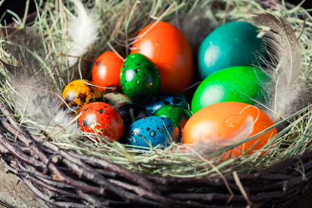 Closeup of various Easter eggs in the rustic cottage Stock Photo