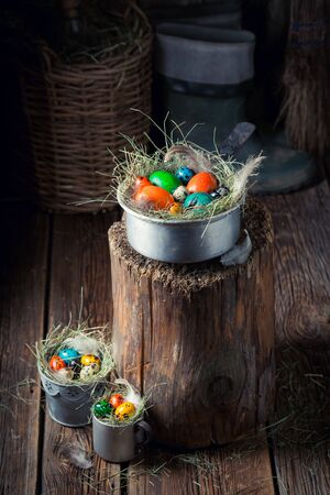 Farm Easter eggs in the rustic wooden cottage Stock Photo