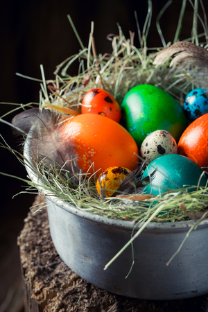 Fresh eggs for Easter on hay in metal bowl Stock Photo
