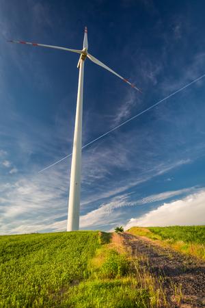 Wind turbines as alternative on green field energy in summer