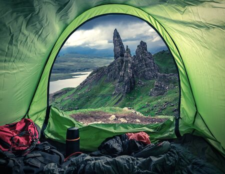 Camping at the top of Old Man of Storr, Scotland