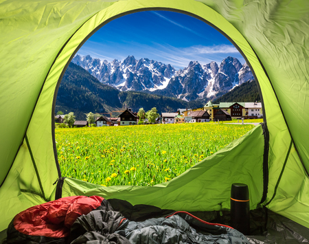 View from tent to village Gosau in Austrian Alps Imagens