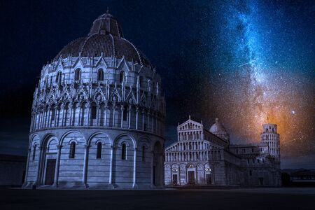 Ancient monuments in Pisa at night with stars, Italy